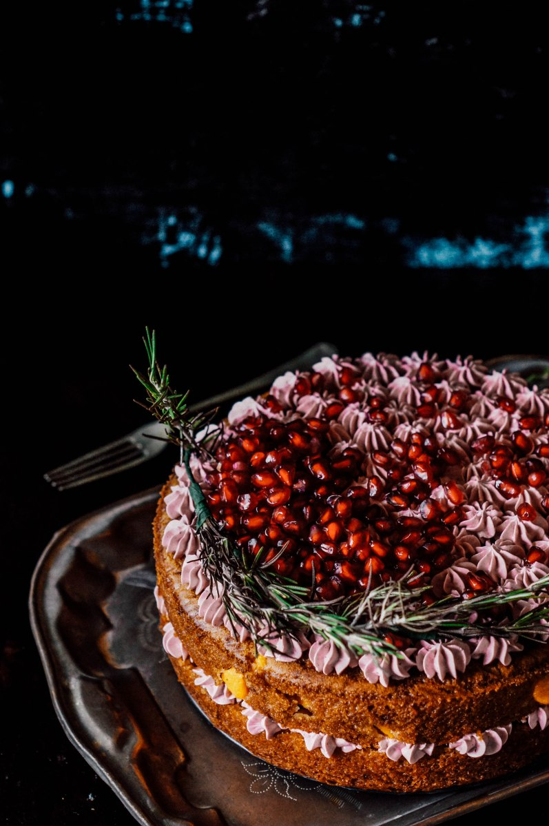 White chocolate peach cake with rosemary pomegranate SwissMeringue ...