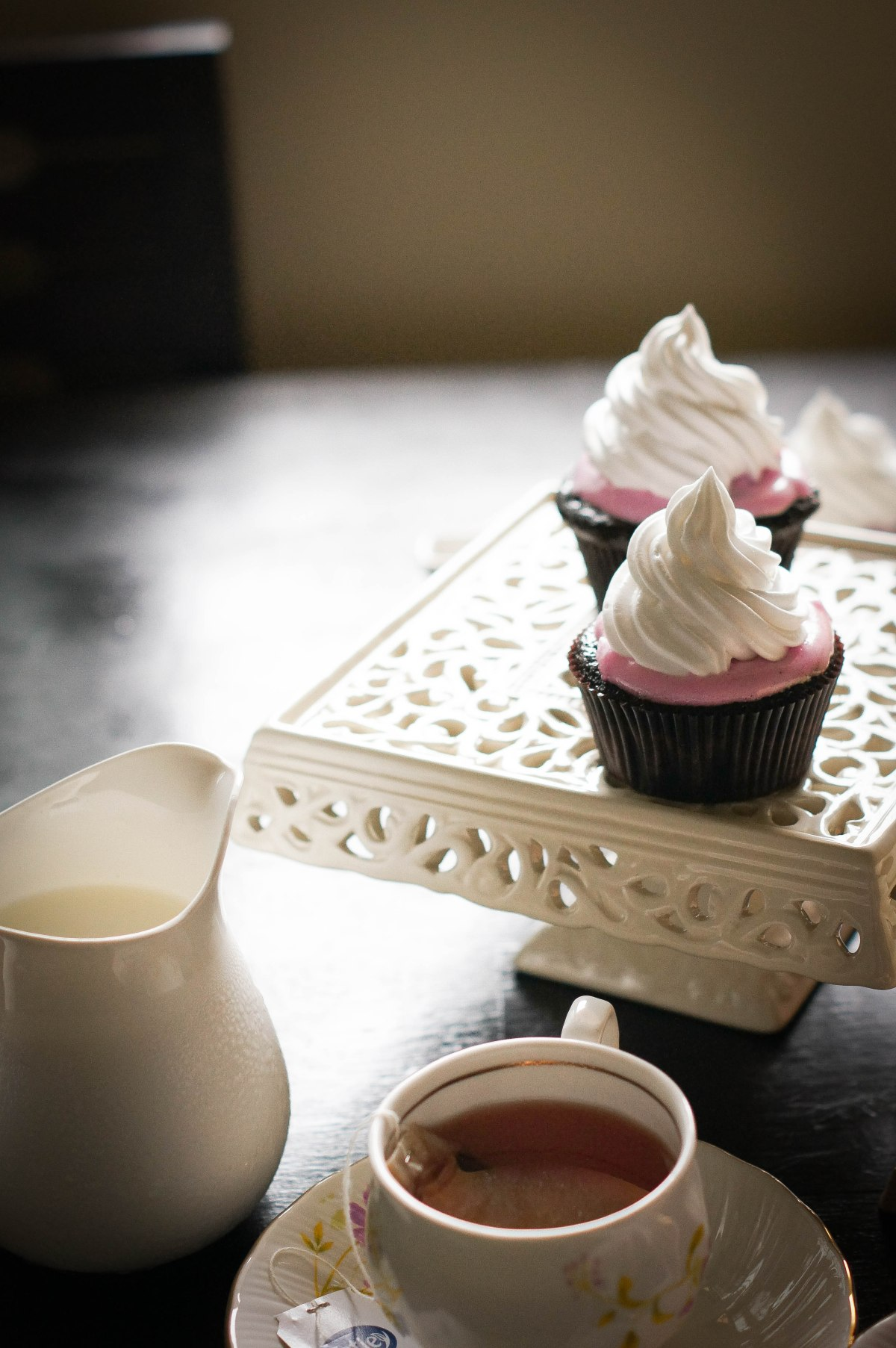 Melted Marshmallow Frosting on ChocolateCupcakes