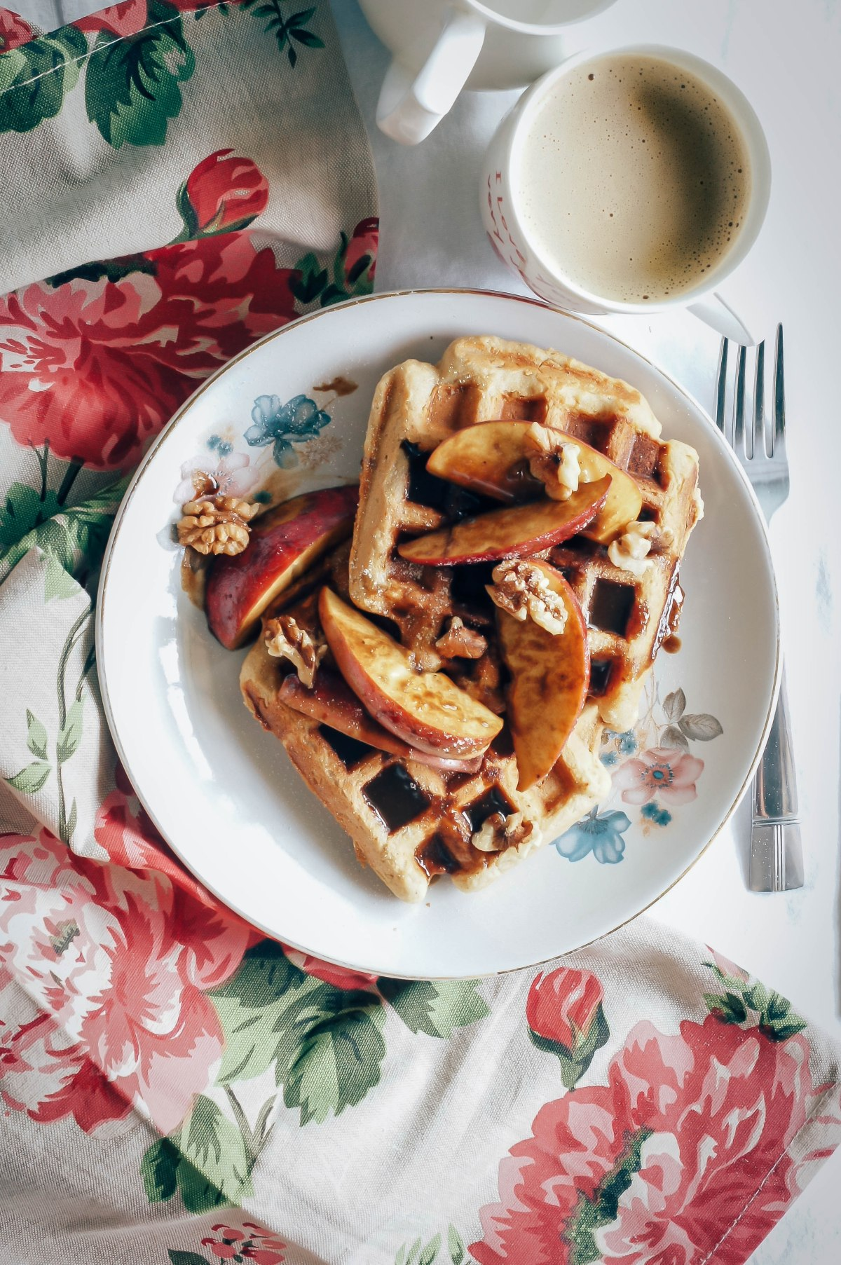Whole wheat waffles with caramel poached apples and nuts