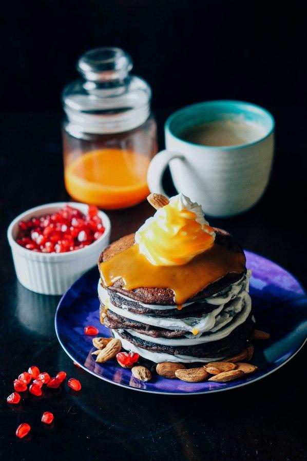 Chocolate Pancakes with citrus orange curd, almonds andcream