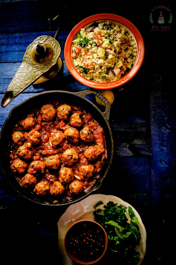 Moroccan Inspired Meat Balls and CouscousSalad
