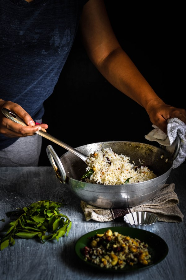 Coconut Rice with a Red chilli, Curry Leaf and GramTempering