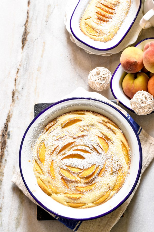 Peach Clafouti – Sweet and Tart Peaches in a soft cakeydessert