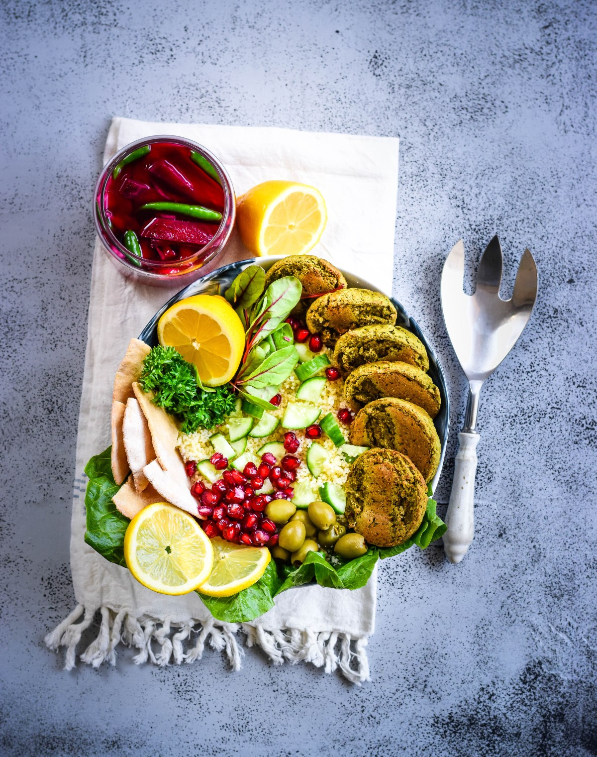Green Falafel Meal Bowl – with lemon couscous and pita chips (Baked)