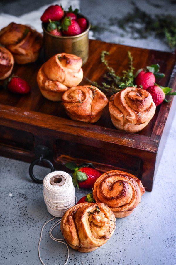Strawberry, Thyme and Caramel Brioche Sticky Buns